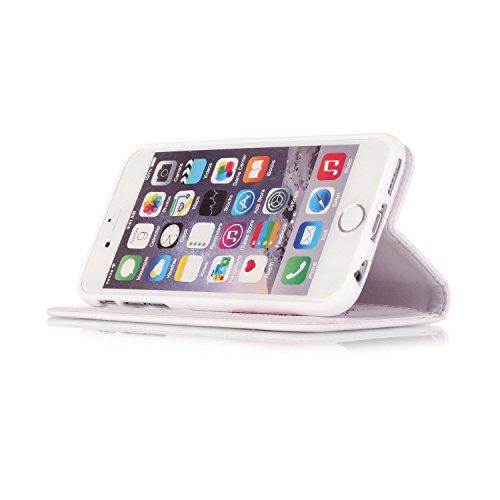 Coque pour iPhone 5 5S, Etui pour iPhone 5 5S, ISAKEN Coloré PU Cuir Flip Magnétique Portefeuille Etui Housse de Protection Coque Étui Case Cover avec Portable Dragonne Stand Support et Carte de Crédi Lotus Fleurs Pink Blanc