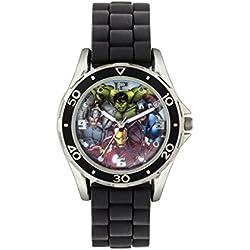 Avengers Boy 's reloj de cuarzo con Negro esfera analógica pantalla y correa negra de goma avg3529