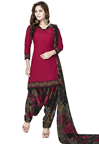Raghavjee Sarees Women's Crepe Georgette Dress Material (Rjlcx6052_Maroon_Free Size)