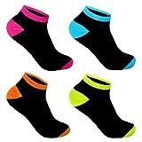 L&K-II 12 Paar Damen Sneaker Socken Füßlinge Neonfarben 92281 39-42