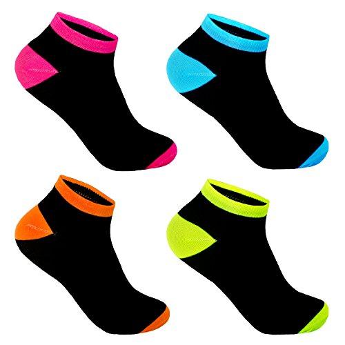 12 Paar L&K-II Damen Sneaker Socken Füßlinge Neonfarben 92281 39-42