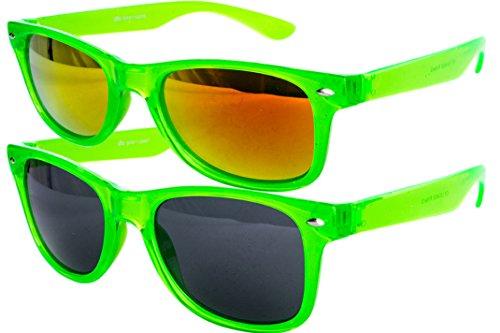 Ciffre 2 er Set EL-Sunprotect Sonnenbrille Nerdbrille Brille Nerd Transparent Grün Set11