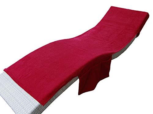 beties Daylight 2 in1 Frottee Liegenauflage ca.70x200 cm umwandelbar in eine Badetasche + Seitentaschen + Kapuzenüberschlag Karmin-rot