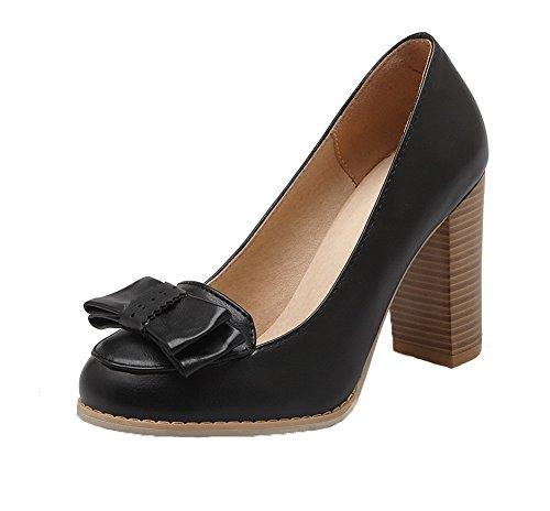 AgooLar Damen Rund Zehe Ziehen auf PU Rein Hoher Absatz Pumps Schuhe, Schwarz, 37