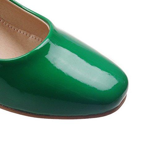 VogueZone009 Damen Schnalle Quadratisch Zehe Mittler Absatz Gemischte Farbe Pumps Schuhe Grün