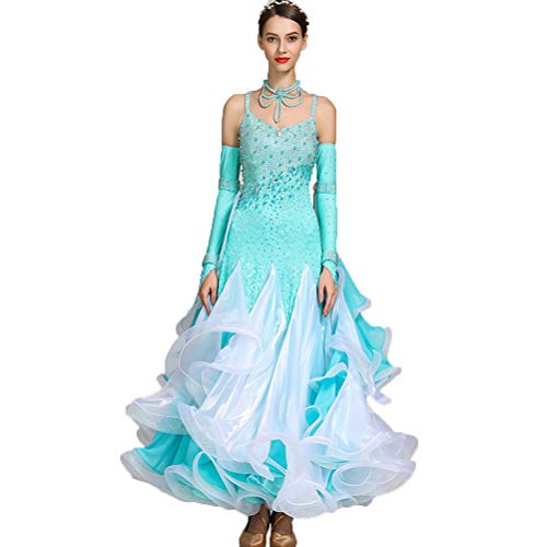 rn Dance Kleider - Ärmellos Ballsaaltanz Tragen Wettbewerb Kostüm Gymnastikanzüge Flamenco-Tango-Rock mit Strass,Blue,L ()