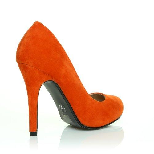 ShuWish UK - Hillary Kunstwildleder Stilett Hoher Absatz Klassische Pumps Schuhe Orange Kunstwildleder