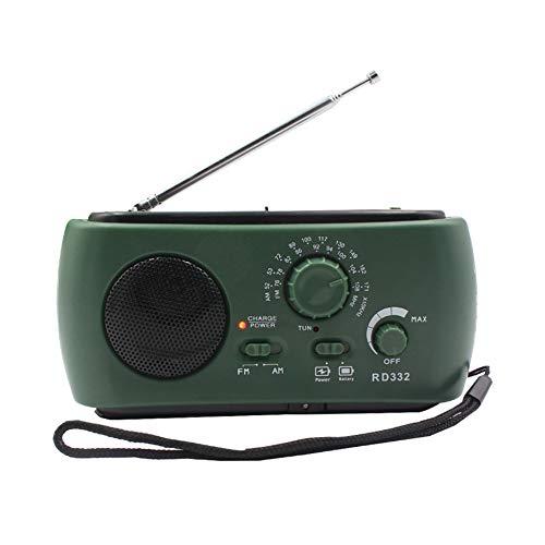 Alextry 1 tragbares Solar-Radio-Handkurbel, betrieben mit Taschenlampe, USB-Ausgang grün - Radio Kurbel Beste