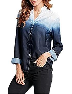 AILIENT Mujer Camiseta Mangas Largas Camisas V Cuello Blusa Button Elegante Casual Color de Degradado Impresa...
