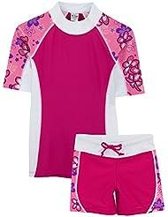 Tuga Sunwear UV-Schutzkleidung - SEASIDE UV-Shirt mit Halbarm und Badehose, UPF50+, für Mädchen - zweiteiliges Badeanzug für Schwimmbad, Strand und Surfen - kalifornisches Design