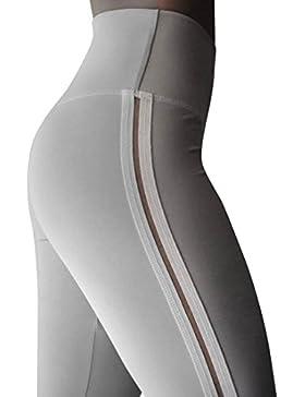 DOGZI Mujer Pantalones Rayas Cintura Alta Mujer Pantalones Deportes Corriendo Leggings de Entrenamiento Yoga Pantalones...