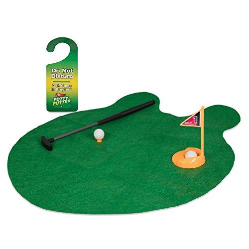 Toilettengolf Set mit Golfschläger und Grün-Matte - 8-teiliges Golfset - Minigolf Spiel fürs Badezimmer - Grinscard