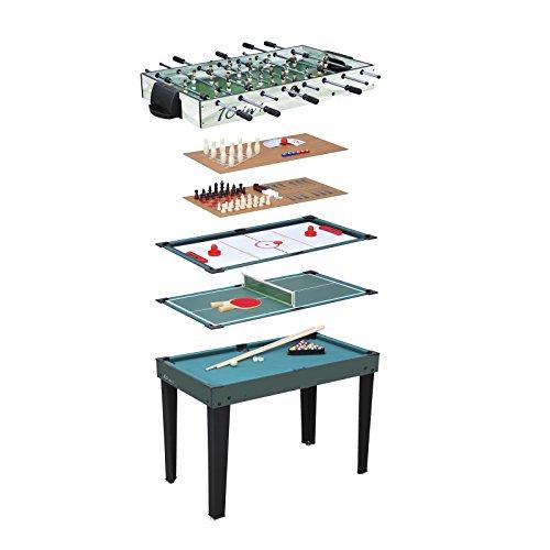 MD-DEAL Multigame Spieletisch 10 in 1, inkl. komplettem Zubehör Tischfußball Kicker Billard Hockey