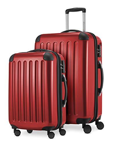 HAUPTSTADTKOFFER® · Set de 2 Valises à coque dure · Valise cabine de 45 litres + Valise de 87 litres · Serrure TSA (Rouge)