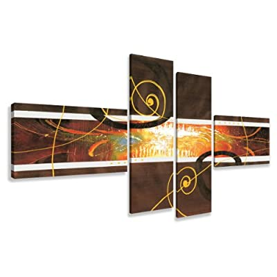 "Picture - art on canvas art abstract length 77"" height 31"", four-part parts model no. XXL 6801 Pictures completely framed on large frame. Art print Images realised as wall picture on real wooden framework. A canvas picture is much less expensive than an o"