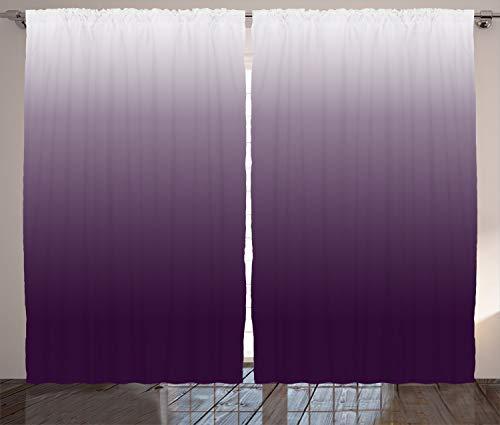 ABAKUHAUS Aubergine Rustikaler Gardine, Schatten, Schlafzimmer Kräuselband Vorhang mit Schlaufen und Haken, 280 x 260 cm, Weiß - Aubergine Schatten