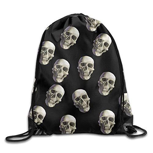 HiExotic Eco-Friendly Turnbeutel Hipster 3D Print Drawstring Backpack Tote Sack Bag Rucksack Shoulder Bags Gym Bag (Halloween Skull Black)