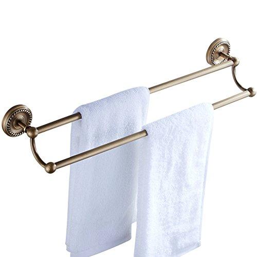 CASEWIND Antik Europäisch Stil Doppel Handtuchstange Handtuchhalter aus Messing für Badezimmer Dusche Küche zum Bohren Wandmontag Wandmontiert
