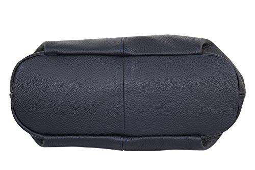 AMBRA Moda Damen echt Ledertasche Handtasche Schultertasche Beutel Shopper Umhängtasche GL012 Marineblau