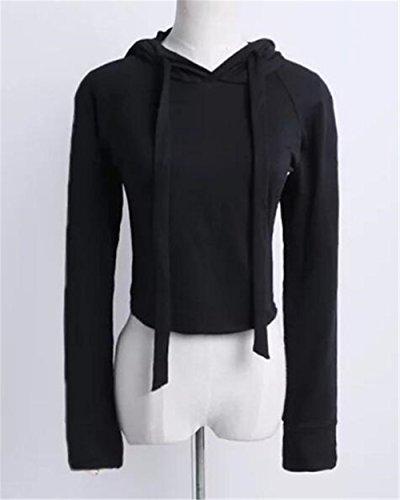 Kerlana Sweat-shirt à Capuche Manches Longues Femme Pulls Court Couleur Unie Manteau Tirez La Corde Hoodie Casual Black
