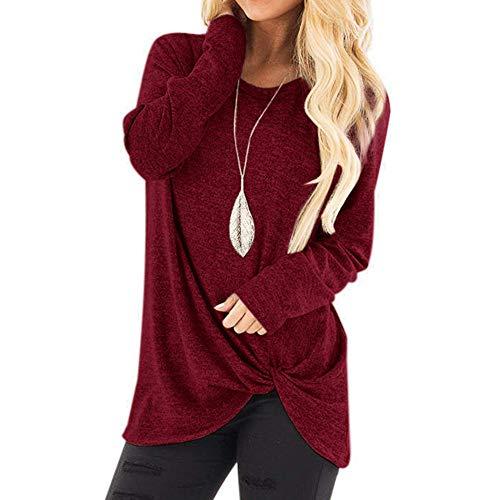 iHENGH Black Friday Weihnachten Karnevalsaktion Damen Herbst Winter Bequem Lässig Mode Frauenmode Lose Langarm Oansatz Lässige Solid T Shirt Bluse Tops(XL,Wein)