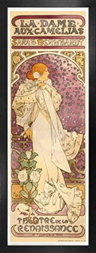 Alphonse Mucha Poster Kunstdruck und MDF-Rahmen - Sarah Bernhardt, Die Kamelien-Dame, 1896 (91 x 30cm)