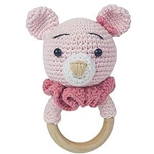 Häkel-Bärchen – Häkel-Bär – Amigurumi Greifling – Rassel – Ring aus Holz – Babyrassel – Geschenk für Babys – Mädchen – rosa – Babyspielzeug