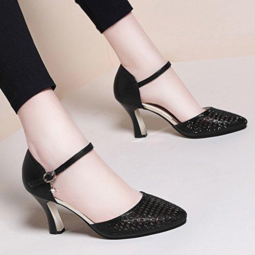 HWF Chaussures femme Sandales Femme Été Chaussures simples Talons hauts Ms ( Couleur : Or , taille : 35 ) Noir