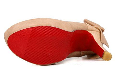 YE Damen High Heels Plateau Pumps mit Schleife Hinten Roter Sohle Runde Zehe Geschlossen 12cm Absatz Elegant Party Schuhe Apricot
