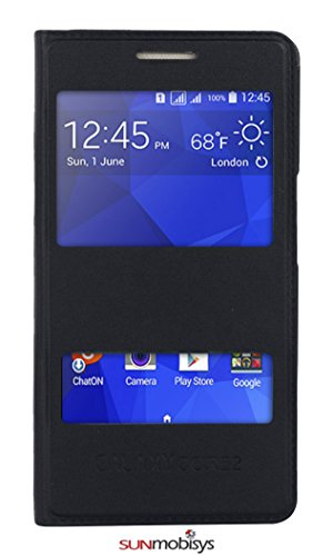 Sun Mobisys®; Samsung Galaxy Core2 G355H Flip Cover; Flip Cover Case for Samsung Galaxy Core2 G355H Black  available at amazon for Rs.299