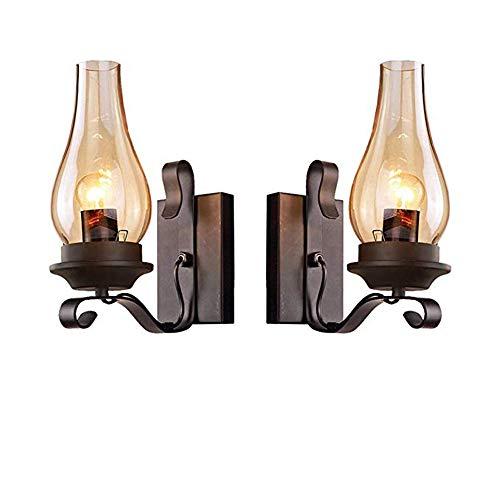 Lampe-glas-schornsteine (CHNG 2er Set Antik Vintage Retro Wandleuchte Lampe Industrielampe Außenwandleuchte,mit Glas Schornstein Schatten Wandlampe für Wohnzimmer Flurlampe)