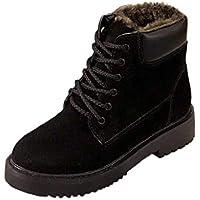 QUICKLYLY Botas De Nieve Mujer,Botines para Adulto,Zapatillas/Zapatos De Invierno Calzado De Tobillo Moda Más Planas con Cuña De Terciopelo con Top Alto(Negro,40CN)