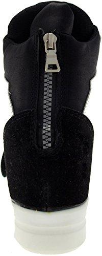 Maxstar C2 bandes Velcro Hauteur jusqu'à Chaussures-baskets Noir - C2-1-Black White