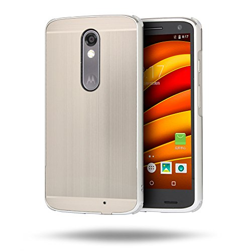 Huphant Compatible for Moto X Force Hülle, Moto X Force Metall Hülle, Premium Aluminium Schutzhülle Aluminium Hülle 2 in 1 Slim Case für Moto X Force(5,4 Zoll) - Silver Grey
