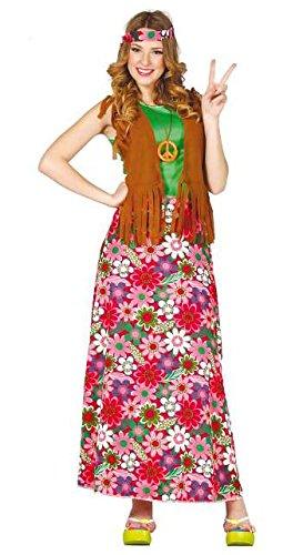 Motto Party Kostüm Jahre 70er - Happy Hippie Kostüm Damenkostüm 70er Jahre Motto Party Kleid Karneval Gr. M-XL, Größe:M