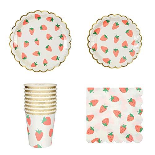 r, Vergoldet Erdbeere, Pappteller, Becher, Servietten, 40 Stück ()