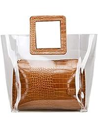 BECLINA Women's Classy Transparent Waterproof Clear Tote Handbag Fashion Handle Bag