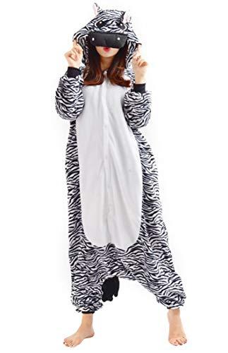 Samgu-Zebre animal Pyjama Cospaly Party Fleece Costume Deguisement Adulte Unisexe (M(hauteur:160-170cm))