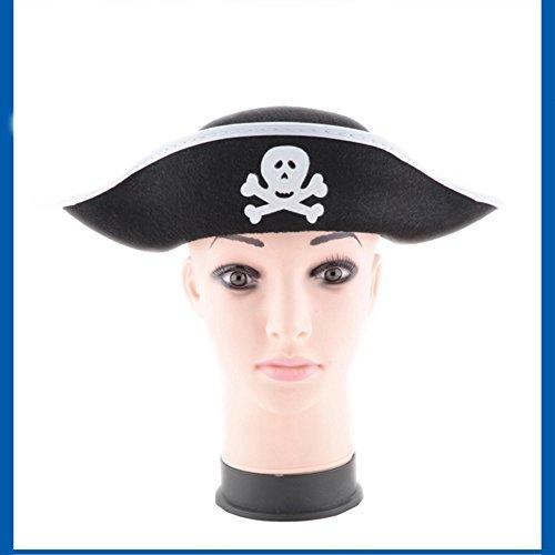 Zantec Schädel Druck Piraten Kapitän Hut, Weihnachten Halloween Maskerade Partei, flacher Art Piraten Hut, der Stützen (Drei Mensch Die Besten Halloween Kostüme)