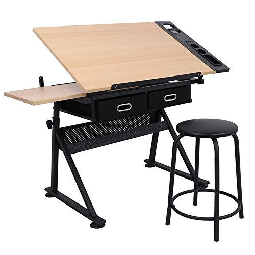 Dawoo Table à Dessin Table à Dessin Table à Dessin inclinable Bureau réglable en Hauteur Table de Travail avec tiroir et tiroir(Prends Le Tabouret)
