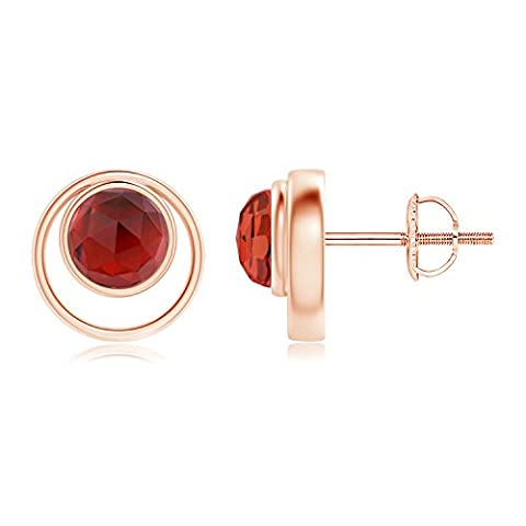 Bezel Set Garnet Concentric Circle Stud Earrings in 14K Rose
