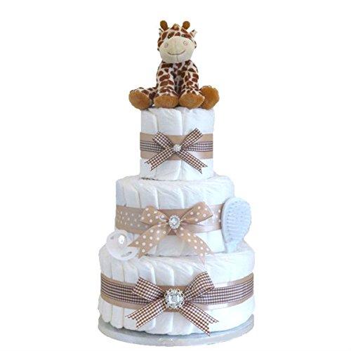 Cadeau pour bébé caractéristique unisexe à trois étages, de GRANDE TAILLE et de LUXE/Gâteau de couches/Couffin pour bébé/Cadeau pour fête pré-natale/Cadeau pour nouvel arrivant/Cadeau pour nouveau-né/Cadeau de maternité.