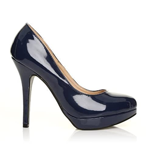 EVE Navy Patent PU Leather Stiletto High Heel Platform Court Shoes Size UK 5 EU 38