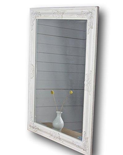 Neue Antik-weiß Lackiert Holz (elbmöbel Spiegel weiß antik 82x62 cm Holz Wandspiegel barock Badspiegel Standspiegel)