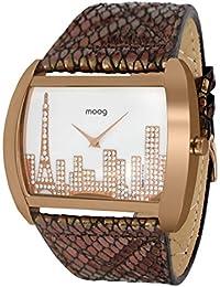 Moog Paris Skyline Reloj para Mujer con Esfera Nácar Blanca, Correa Negra y Oro Rosa
