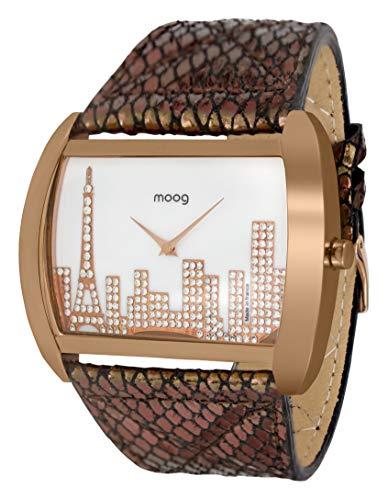 Moog Paris Skyline Montre Femme avec Cadran Nacre Blanc, Eléments Swarovski, Bracelet Noir et Or Rose en Cuir Véritable - M41882-002
