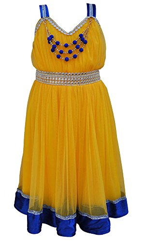 TINY TOON Party wear Baby Girls's Frock Dress (F154_5, Yellow, 6-7 Years)  available at amazon for Rs.399