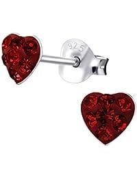 Laimons Pendientes para mujer Corazón Rojo Brillante Plata de ley 925