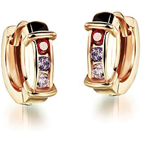 FaithYoo Donna Fashion Jewelry diversi colori zirconi cerchio clip su orecchini per le donne