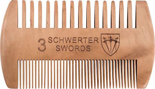 Drei Schwerter - Bartkamm ´Barba` für die anspruchsvolle und tägliche Bartpflege mit zwei verschiedenen Zahnungen für jeden Barttyp, Markenqualität aus robustem Pfirsichholz (8688)